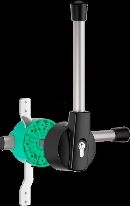 """Mehrpunktverschluss """"EURO 5000"""" für Kühl- und Tiefkühlraumtüren Aussenhebel schwarz, rechts und links verwendbar, Türstärke 72 - 80 mm, integrierte Notöffnung, mit Profilzylinder und 3 Schlüsseln, verschiedenschließend, mit Toleranzausgleich"""