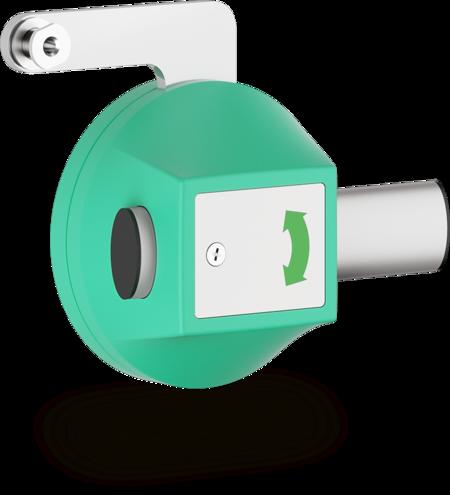 Vorreiber für Mehrpunktverschlüsse Gehäuse Kunststoff, verkehrsgrün ähnl. RAL 6024, rechts und links verwendbar, seitlich schließend, mit Stangenhalterung
