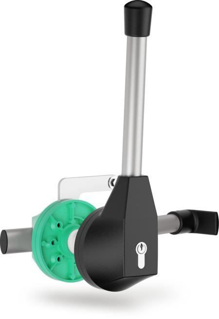 """Mehrpunktverschluss """"EURO 2000"""" für Kühl- und Tiefkühlraumtüren Aussenhebel schwarz, rechts und links verwendbar, Türstärke 76 - 80 mm, integrierte Notöffnung, mit Profilzylinder und 3 Schlüsseln, verschiedenschließend"""