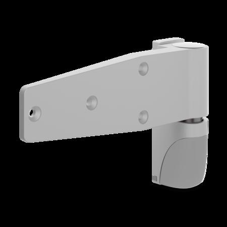 Lappenscharnier VARIOFLEX Zink-Druckguss, EPS beschichtet grau RAL 7038, rechts und links verwendbar, steigend, 2D-einstellbar, 24 mm Überschlag, aushängbar, rastbar bei ca. 118°, inklusive 2 Abdeckkappen, Öffnungswinkel 180°, ohne Zubehör
