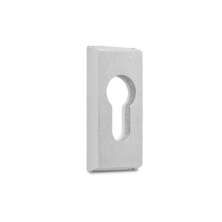 Sicherheits-Schieberosette, eckig, PZ gelocht, Aluminium E6 / EV 1 eloxiert, unsichtbare Verschraubung, Lochabstand 50 mm, Höhe 10 mm