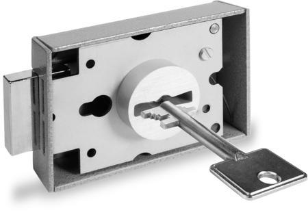 Innentresorschloss mit Buchse, 2 Schlüssel 58 mm lang