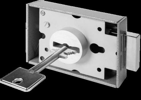 Innentresorschloss mit Buchse 2 Schlüssel 58 mm lang