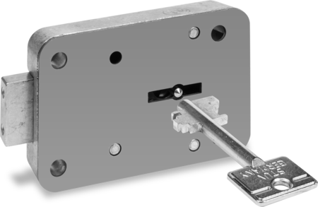 Tresorschloss, verschiedenschließend, 2 Schlüssel 60 mm lang, mit Schließungsnummer