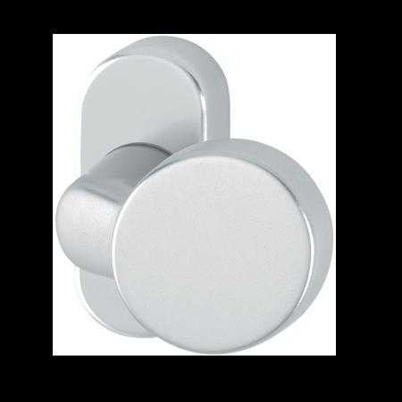 Türknopf Aluminium Ø 50 mm rund, flach, gekröpft, E6 / EV1 eloxiert, fest auf ovaler Rosette mit unsichtbarer Verschraubung, Bohrlochabstand 50 mm
