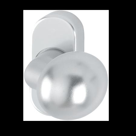 Türknopf Aluminium Ø 45 mm rund gekröpft, E6 / EV1 eloxiert, fest auf ovaler Rosette mit unsichtbarer Verschraubung, Bohrlochabstand 50 mm