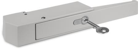 Verschluss für Kühl- und Tiefkühlraumtüren Zink-Druckguss, EPS beschichtet grau RAL 7038, rechts und links verwendbar, mit Profil-Zylinder und 3 Schlüsseln, verschiedenschließend