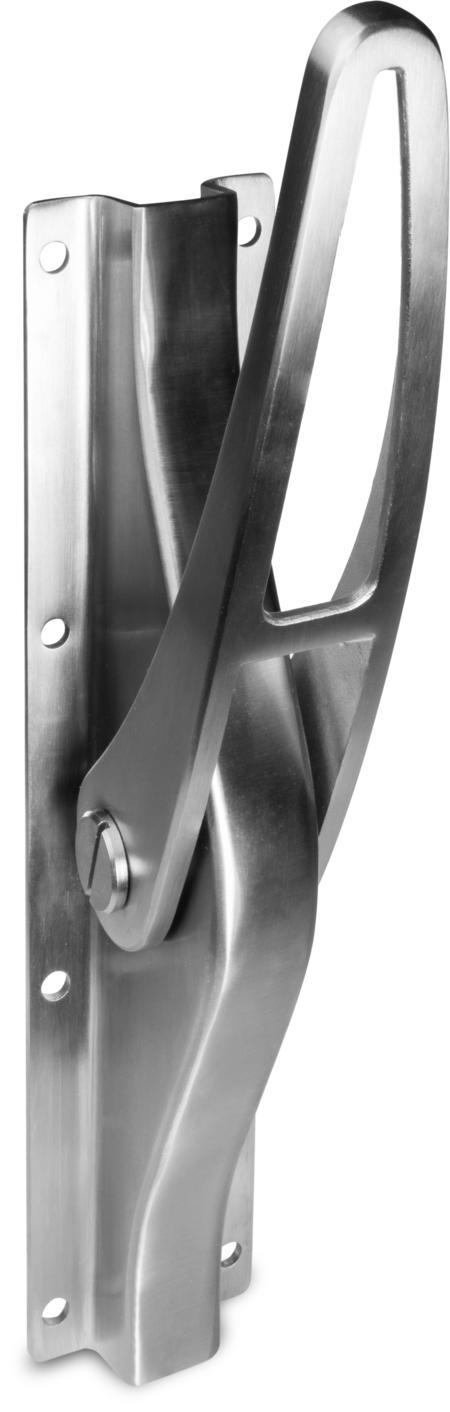 Treibriegel Edelstahl, gebürstet, rechts und links verwendbar, für 16 mm Vierkantstangen, mit Unterlegplatte, Hub ca. 30 mm