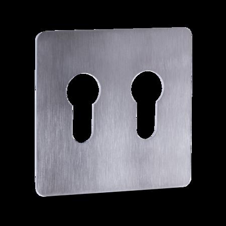 Kleberosette für 2 PZ gelocht, Edelstahl fein matt, 80 x 80 x 1,5 mm