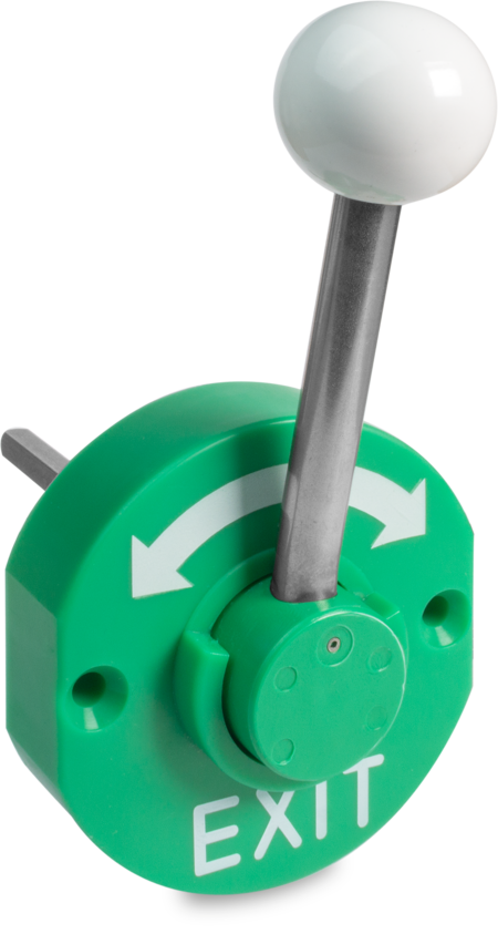 Notöffner Kunststoff, verkehrsgrün ähnl. RAL 6024, rechts und links verwendbar, Türstärke 101 120 mm