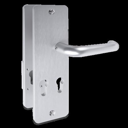 Langschild-Wechselgarnitur E6/EV1 eloxiert 2 PZ nebeneinander, Entfernung 72 mm Innenseite Drücker, Außenseite Griffplatte