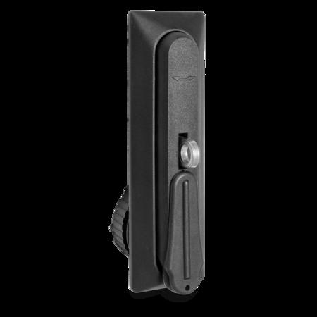 Schwenkgriff Kunststoff PA 6 GF 30% schwarz Ausführung eckig, Lochabstand 105 mm Lochbild 46 und 22,5 mm für Profilzylinder vorgerichtet mit zusätzlichem Bügel für Vorhangschloss