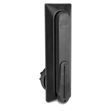 Schwenkgriff Kunststoff PA 6 GF 30% schwarz Ausführung eckig, Lochabstand 105 mm Lochbild 46 und 22,5 mm für Profilzylinder vorgerichtet