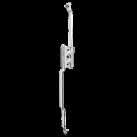 Stangenschloss GD-ZnAl mit zwei Stangen Anschlußmaß 398 mm, Vierkant 8 mm, Hub 24 mm, Stangenanschluß Rund 6 mm mit Sicherungsscheibe