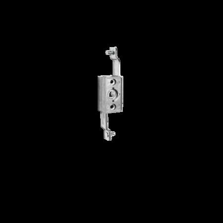 Stangenschloss GD-ZnAl mit kurzen Stangen Vierkant 8 mm, Anschlussmaß 126 mm Hub 24 mm, Stangenanschluss Rund 6 mm mit Sicherungsscheibe