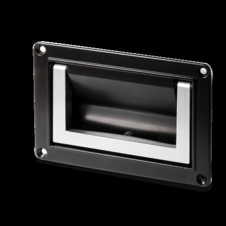 Muschelklappgriff Aluminium 130 mm EPS schwarz, Griff silber beschichtet, Griff wird in Arbeits- und Ruhestellung arretiert, Montageöffnung: 110 x 70,5 mm