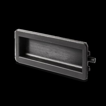 Muschelgriff Kunststoff PA UL94 schwarz 110 mm, Montageöffnung: 106,5 x 47 mm einfache Clips Montage