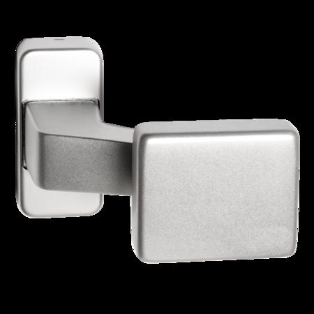 Türknopf gekröpft, kantige Verdeck-Rosette, Griffplatte kantig fest, Aluminium EV1
