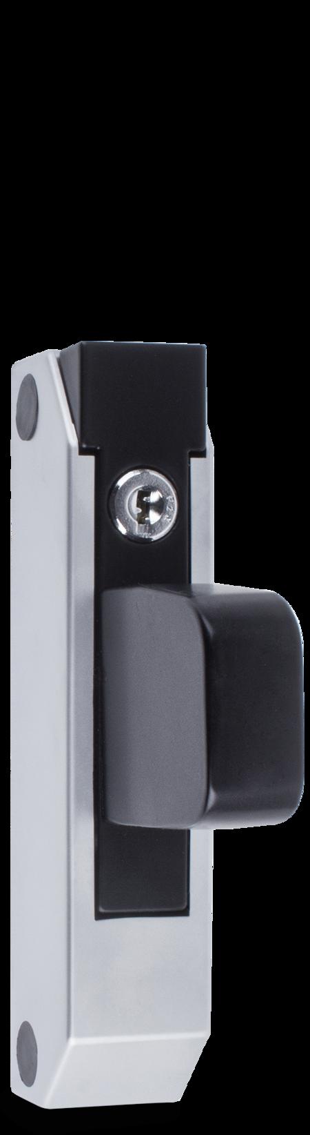 Schubladenverschluss Zink-Druckguss, EPS beschichtet schwarz RAL 9005, Kappe Kunststoff, matt verchromt, mit Zylinder, mit 2 Schlüsseln, verschiedenschließend, seitliche Montage, Höhe Halterung 49 mm