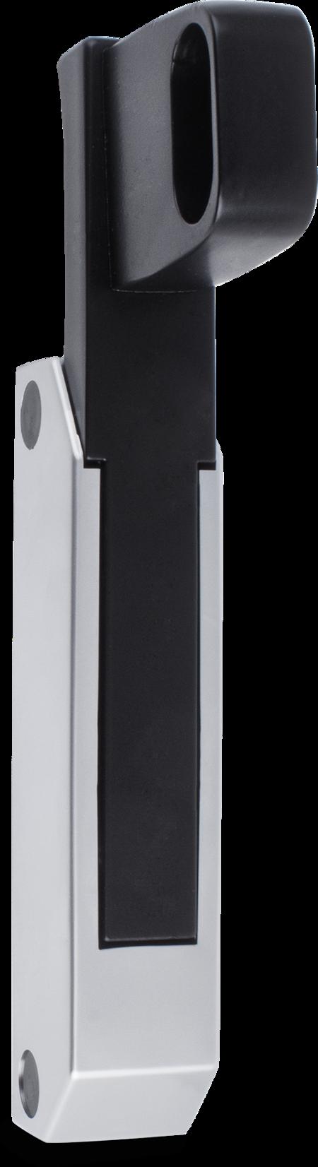 Schubladenverschluss Zink-Druckguss, EPS beschichtet schwarz RAL 9005, Kappe Kunststoff, matt verchromt, ohne Zylinder, seitliche Montage, Höhe Halterung 49 mm, Griff verlängert