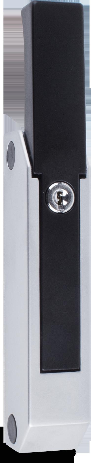 Verschluss Zink-Druckguss, EPS beschichtet schwarz RAL 9005, Kappe Kunststoff, matt verchromt, rechts und links verwendbar, mit Zylinder, mit 2 Schlüssel, verschiedenschließend, seitliche Montage