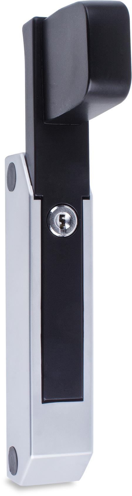 Schubladenverschluss Zink-Druckguss, EPS beschichtet schwarz RAL 9005, Kappe Kunststoff, matt verchromt, mit Zylinder, mit 2 Schlüsseln, verschiedenschließend, seitliche Montage, Höhe Halterung 29 mm, Griff verlängert