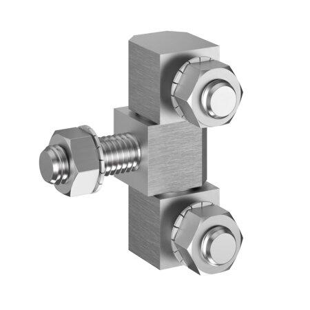Scharnier 3-teilig zum Anschrauben für aufliegende Türen, Edelstahl V2A, 49 x 18 x 16 mm, einschl. Sechskantmuttern M8 und Fächerscheiben