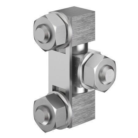 Anschraubscharnier Edelstahl für aufliegende Türen, Öffnungswinkel 180°, einschließlich Sechskantmuttern M8 und Fächerscheiben A8 DIN 6798