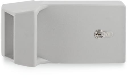 Verschluss für Kühl- und Tiefkühlraumtüren Kunststoff, grau ähnl. RAL 7037, rechts und links verwendbar, mit Profilzylinder und 3 Schlüsseln, verschiedenschließend, integrierte Notöffnung