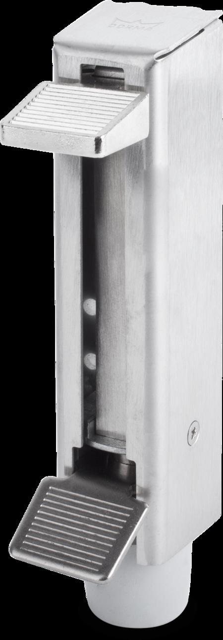 Teleskoptürfeststeller, Hub 60 mm, Unterkonstruktion Stahl verzinkt, Abdeckkappe Edelstahl, Gummistopper, inklusive Befestigungsmaterial