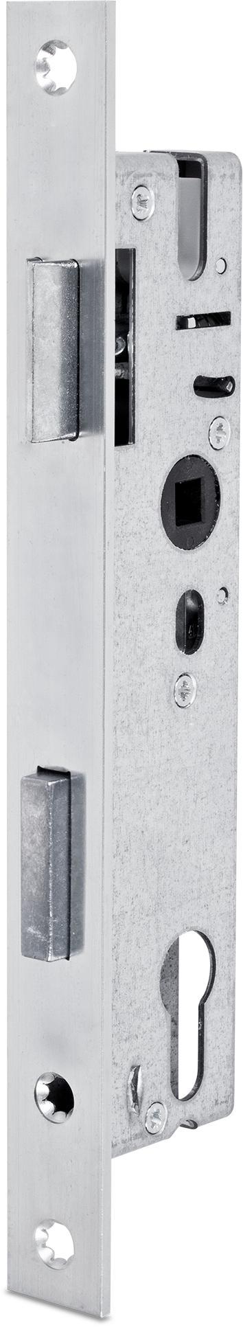 Einsteckschloss mit Wechsel, Dornmaß 20 mm, Entfernung 92 mm, Vierkantnuss 8 mm, Falle und Riegel 5 mm vorstehend, DIN rechts / links verwendbar