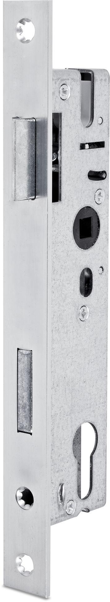 Einsteckschloss mit Wechsel, Dornmaß 18 mm, Entfernung 92 mm, Vierkantnuss 8 mm, Falle und Riegel bündig, DIN rechts / links verwendbar