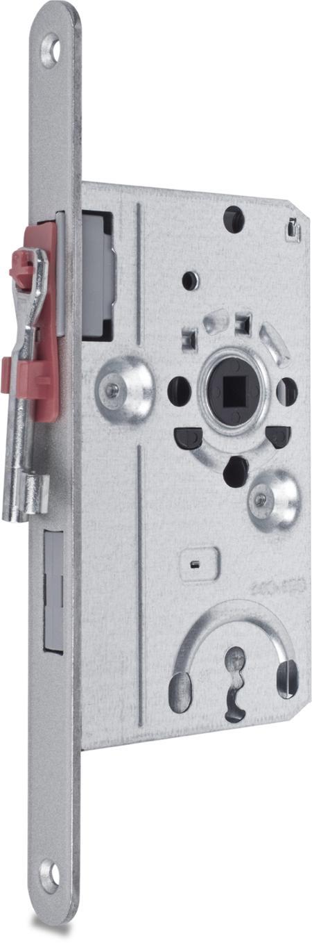 Einsteckschloss nach DIN 18251-1 Klasse 1, Buntbart mit 1 Schlüssel, Dornmaß 55 mm, Entfernung 72 mm, Vierkantnuss 8 mm, Stulp 20 x 235 x 3 mm rund silbermetallic, DIN rechts