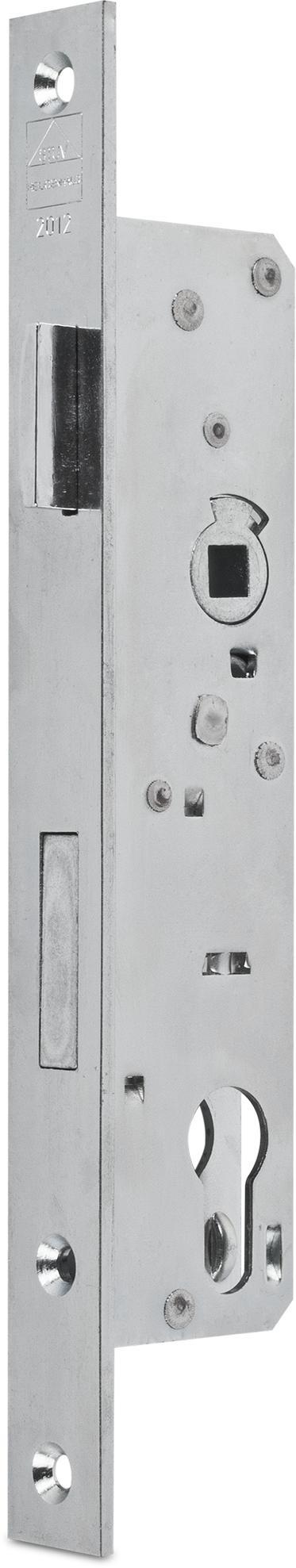 Einsteckschloss mit Wechsel, Dornmaß 24 mm, Entfernung 92 mm, Vierkantnuss 8 mm, Falle und Riegel bündig, DIN rechts