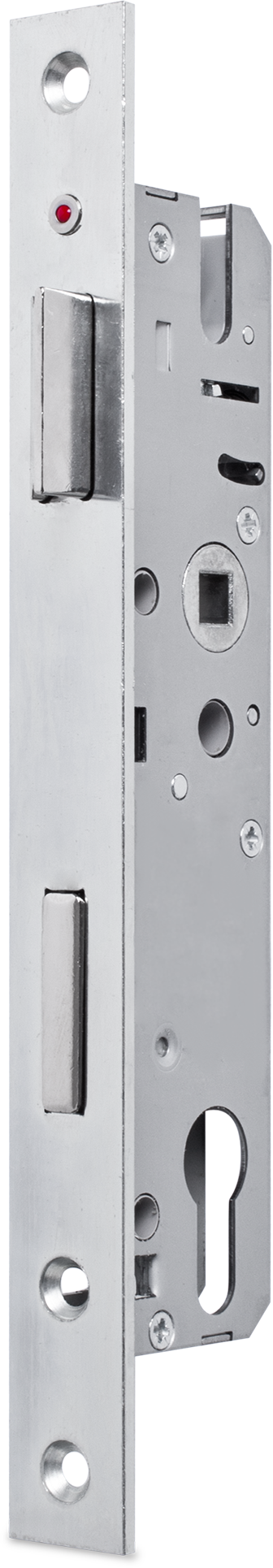 Einsteckschloss mit Wechsel, Dornmaß 30 mm, Entfernung 92 mm, Vierkantnuss 8 mm, Falle und Riegel bündig, Riegel mit Stahlstift, DIN rechts / links verwendbar