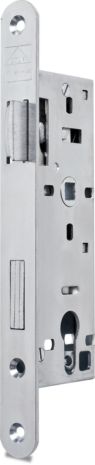 Einsteckschloss mit Wechsel, Dornmaß 35 mm, Entfernung 72 mm, Vierkantnuss 9 mm, Falle und Riegel bündig, DIN rechts (Falle nach Öffnen des Schlosses umlegbar)