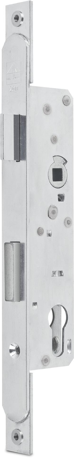 Einsteckschloss mit Wechsel PZ gelocht Dornmaß 30 mm, Enfernung 92 mm Falle und Riegel 5 mm vorstehend, Stulp Stahl verzinkt abgerundet mit unterlegten Laschen und Gewinde M5, DIN rechts