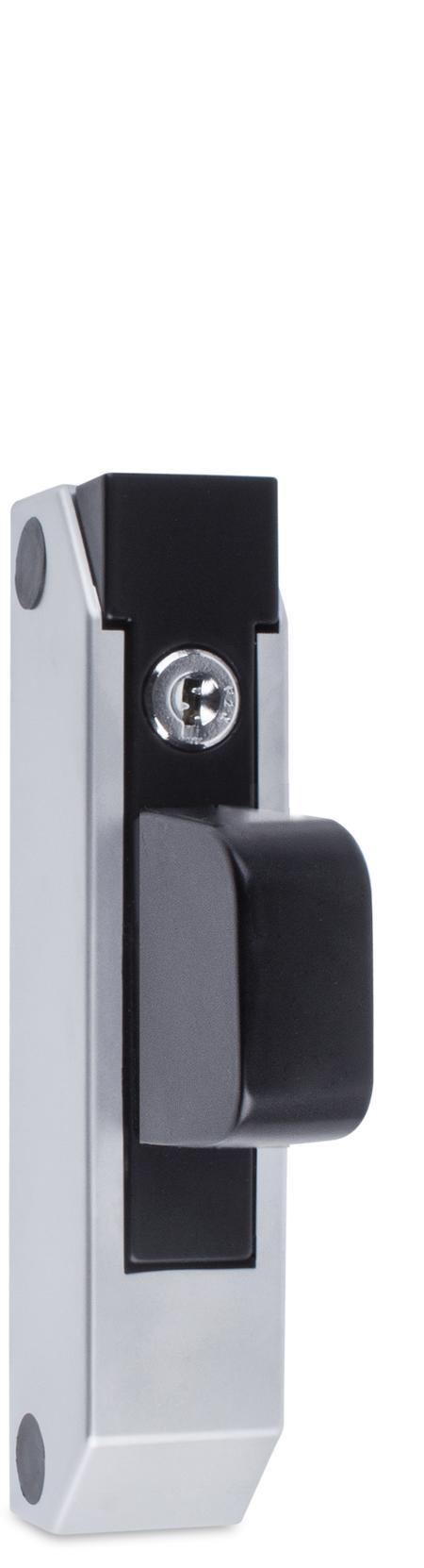 Schubladenverschluss Zink-Druckguss, EPS beschichtet schwarz RAL 9005, Kappe Kunststoff, matt verchromt, mit Zylinder, mit 2 Schlüsseln, verschiedenschließend, seitliche Montage, Höhe Halterung 29 mm