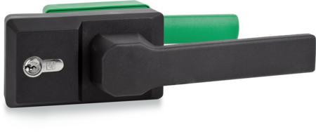 """Verschluss """"KOMPAKT"""" für Kühlraumtüren, nur in Plusgraden Außenhebel schwarz, rechts und links verwendbar, integrierte Notöffnung, mit Profilzylinder und 3 Schlüsseln, verschiedenschließend, ohne Zubehör, mit Falle"""