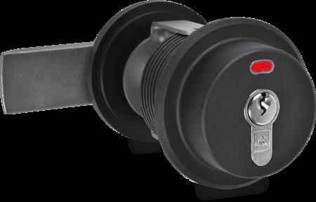 Verschluss für Magnettüren Kunststoff PA6, schwarz, Innenhebel Edelstahl, gesandstrahlt, rechts, Türstärke 78 - 100 mm, optische Riegelstellungsanzeige, Einsatzbereich bis -25° C, mit Profilzylinder u. 3 Schlüsseln, verschiedenschließend, integriert