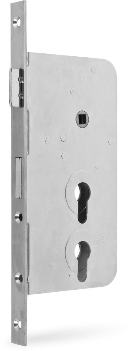 Einsteckschloss PZW, 2 PZ übereinander Dornmaß 60 mm, Entfernung 60 / 108 mm Stulp Edelstahl käntig, DIN rechts