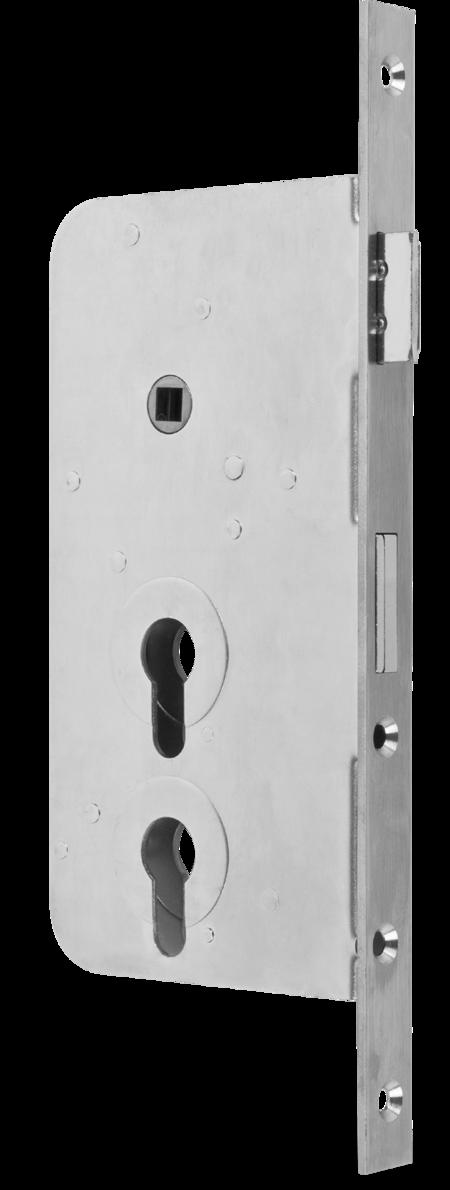 Einsteckschloss PZW, 2 PZ übereinander Dornmaß 60 mm, Entfernung 60 / 108 mm Stulp Edelstahl käntig, DIN links