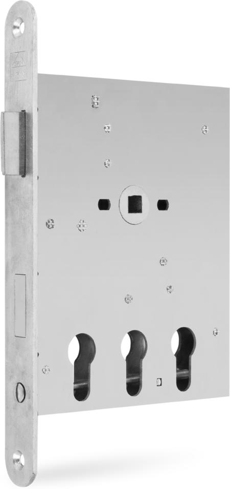 Einsteckschloss mit Wechsel, 3 Profilzylinderlochungen nebeneinander, Dornmaß 32 / 65 / 98 mm, Entfernung 72 mm, Vierkantnuss 9 mm, 1tourig mit Wechsel, Stulp 24 x 235 x 3 mm rund, Stahl weiß cB verzinkt, DIN rechts