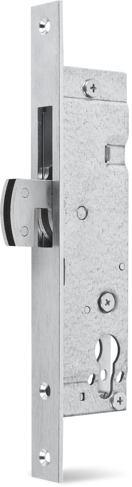 Einsteckschloss mit Haken-Schwenkriegel, Stahl verzinkt, Dornmaß 25 mm, Stulp 24 x 245 x 3 mm