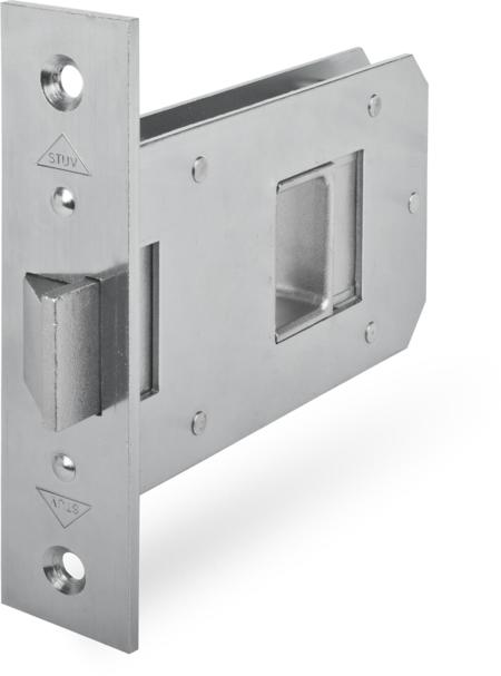 Einsteckfallenschloss, Dornmaß 75 mm, Stulp 35 x 150 x 4 mm käntig, DIN rechts / links verwendbar