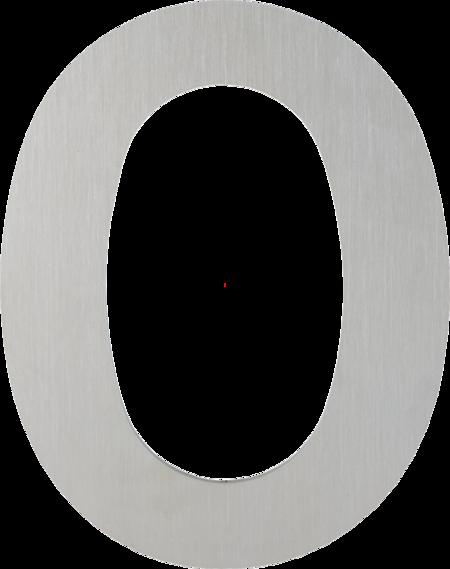 Ziffer 0 Edelstahl-Hausnummer modern, verdeckte Befestigung, inkl. Gewindestangen und Dübel