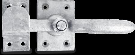 Maschinentürverschluss mit Schließkloben feuerverzinkt, Verschlusshebel Temperguss, Grundplatte und Schließkloben Stahl
