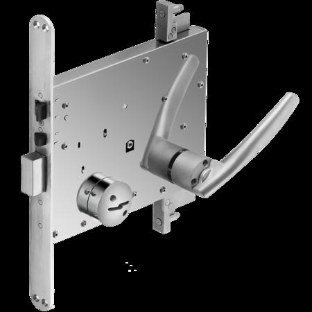 HSL-Haftraumschloss mit Treibriegel, Stangenanschluss nach oben und unten ausfahrend, DIN rechts, HSL 301 S1