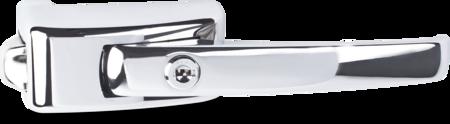 Türverschluss Zink-Druckguss, verchromt, rechts und links verwendbar, mit Anzug, mit Zylinder, mit verchromter Abdeckkappe