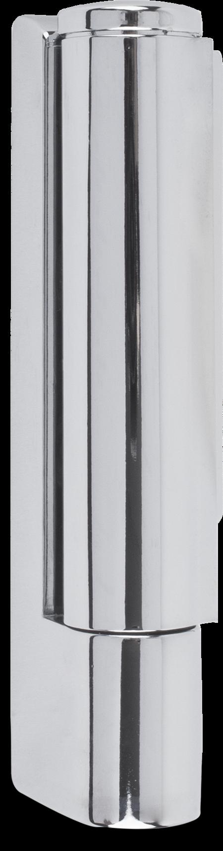 Eckscharnier Zink-Druckguss, verchromt, rechts und links verwendbar, 17 mm Drehpunkt, nicht steigend, seitliche Montage, mit loser, geprägter Abdeckkappe